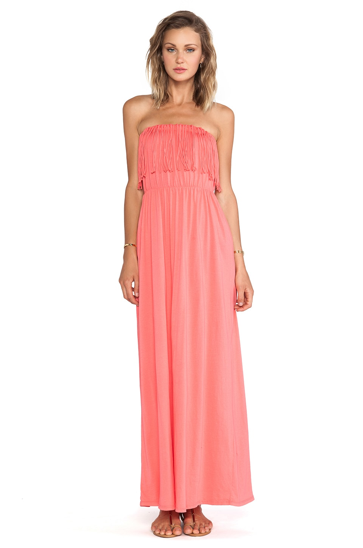 Bobi Supreme Jersey Fringe Maxi Dress in Sunset