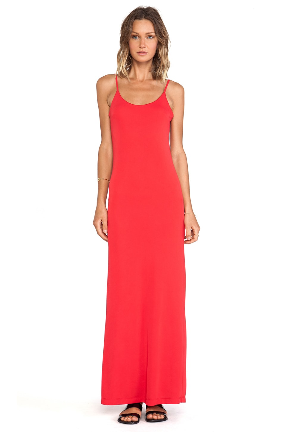 Bobi BLACK Tank Maxi Dress in Red