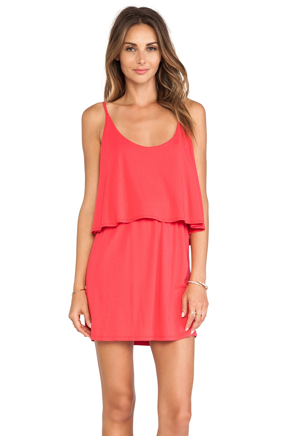 Bobi Modal Jersey Mini Tank Dress in Berry Red
