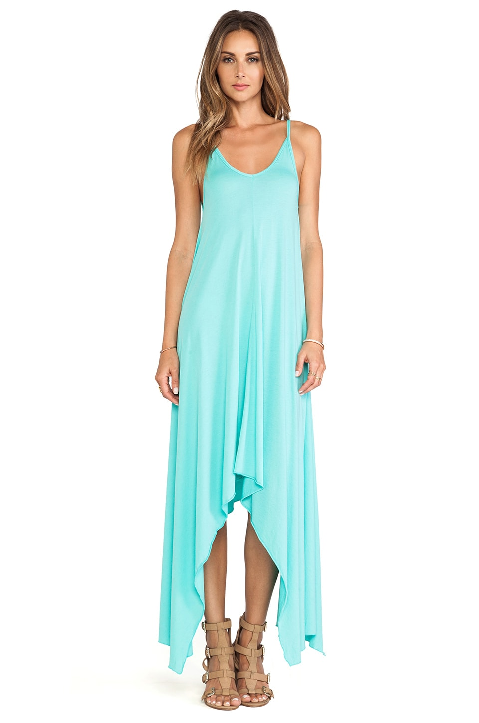 Bobi Modal Jersey Asymmetric Dress in Aqua