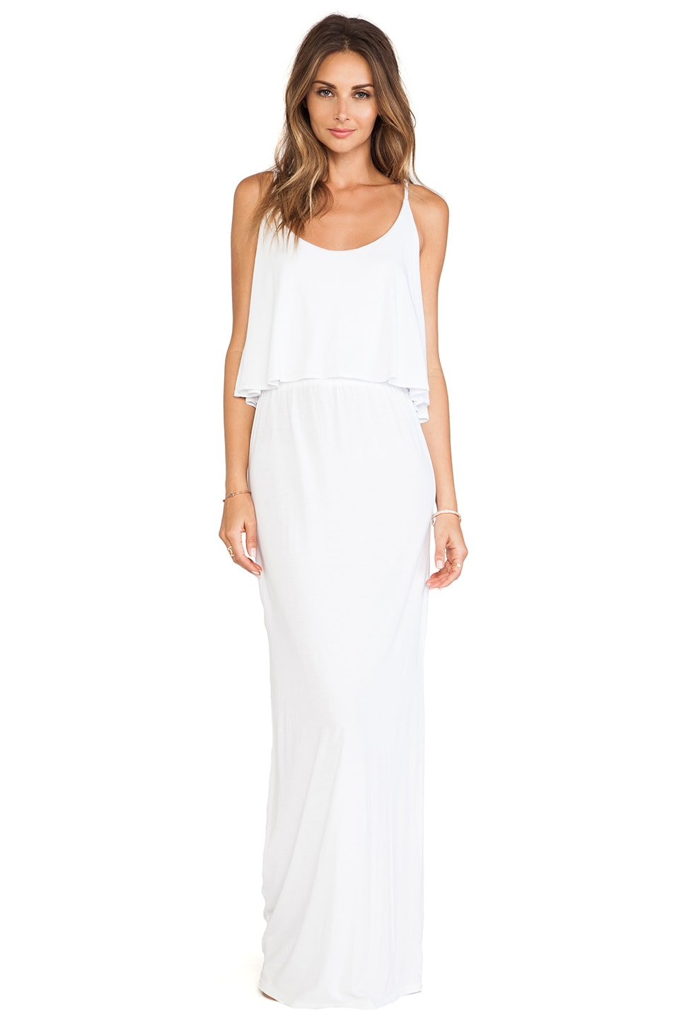 Bobi Jersey Tank Maxi Dress in White