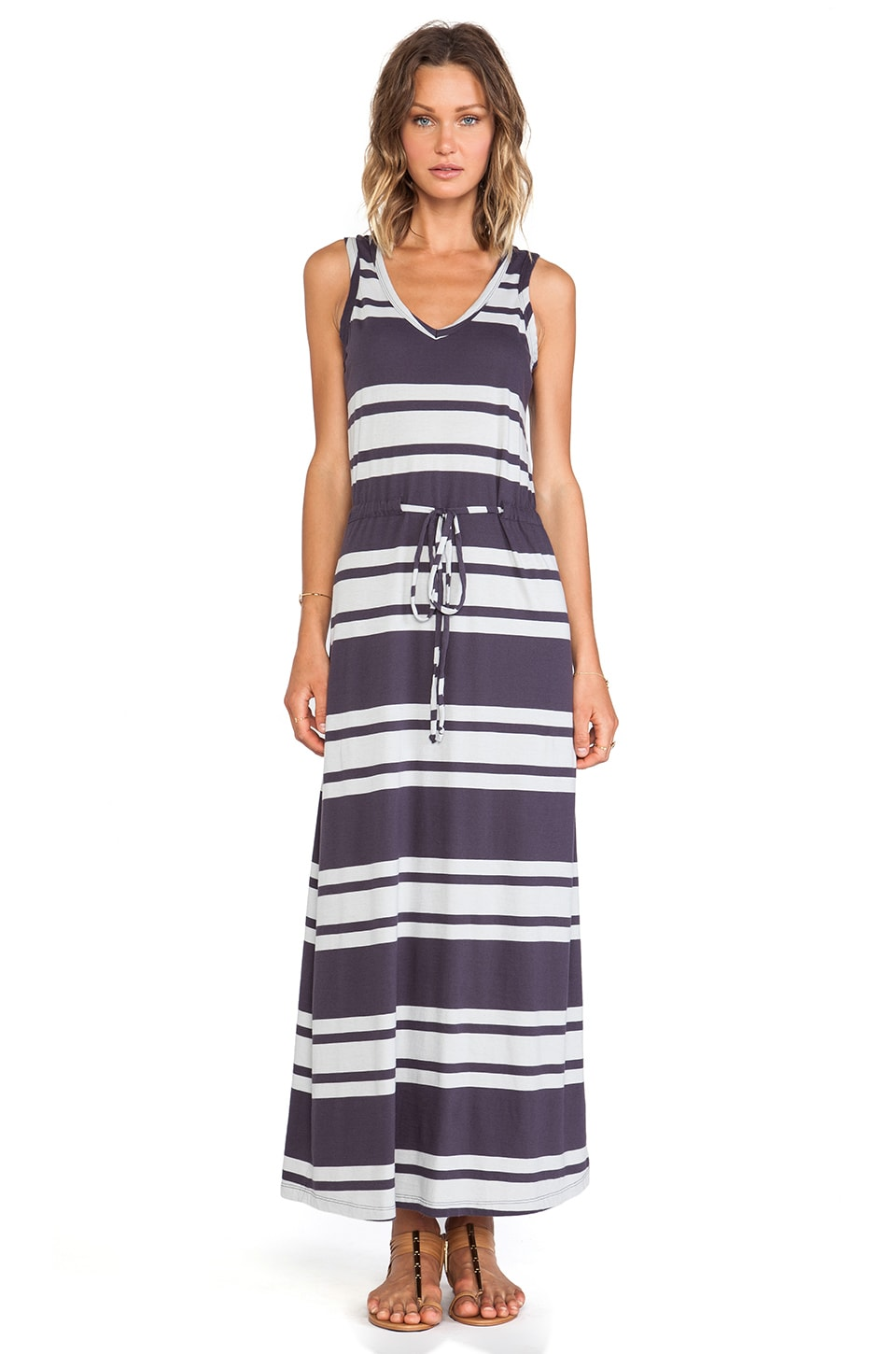 Bobi Light Weight Jersey Striped Maxi Dress in Deep Grey & Shore