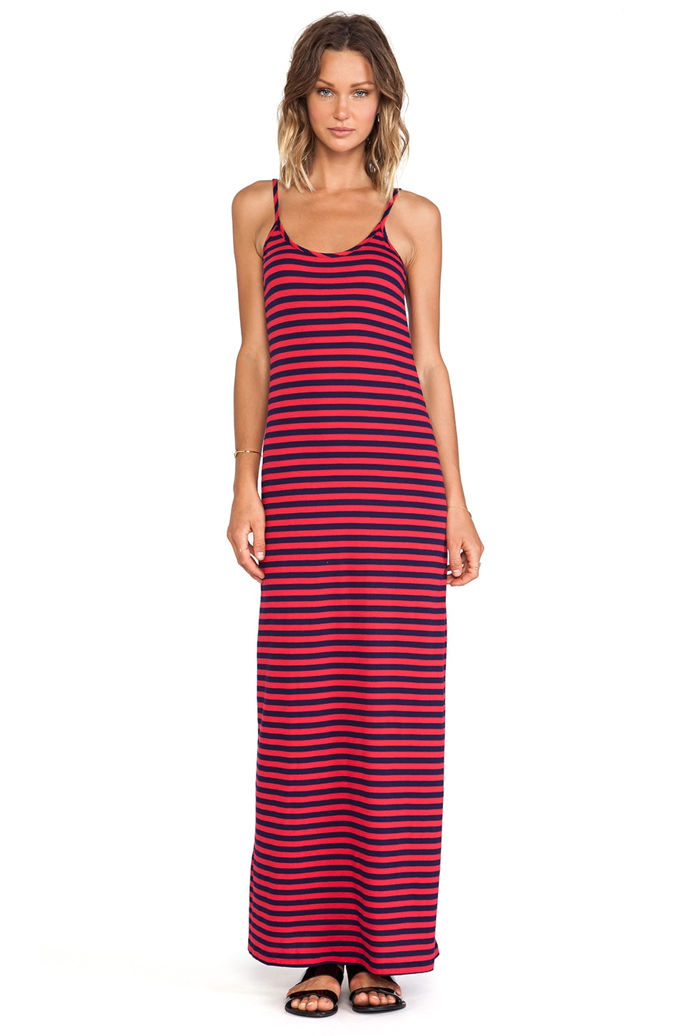 Bobi Light Weight Jersey Striped Maxi Dress