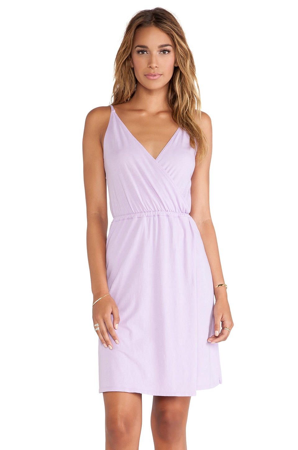 Bobi Supreme Jersey Wrap Dress in Lilac