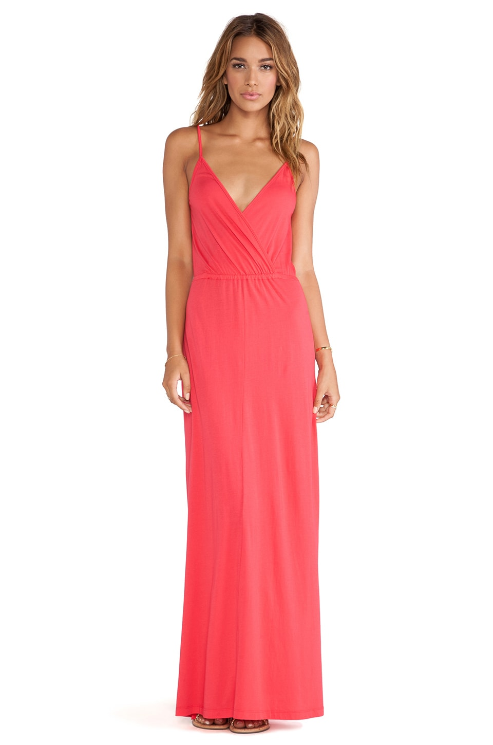Bobi Modal Jersey Tank Maxi Dress in Berry Red