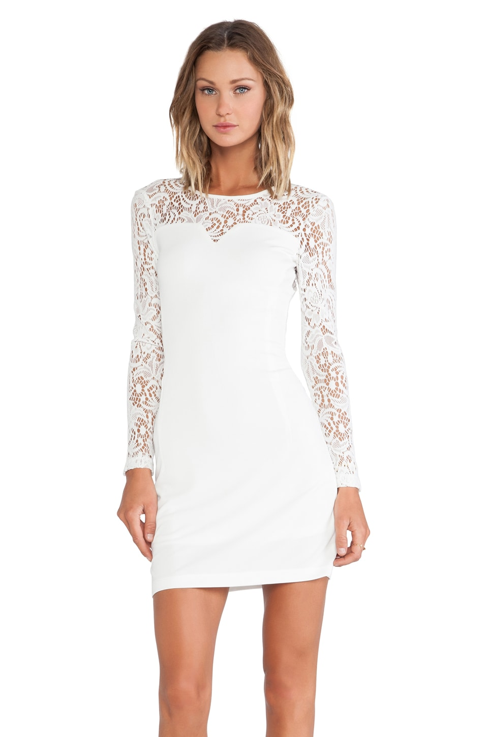 Bobi BLACK Long Sleeve Dress in White