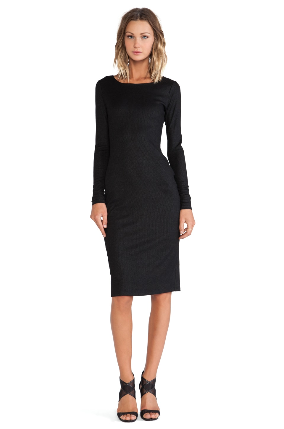 Bobi BLACK Ribbed Long Sleeve Midi Dress in Black