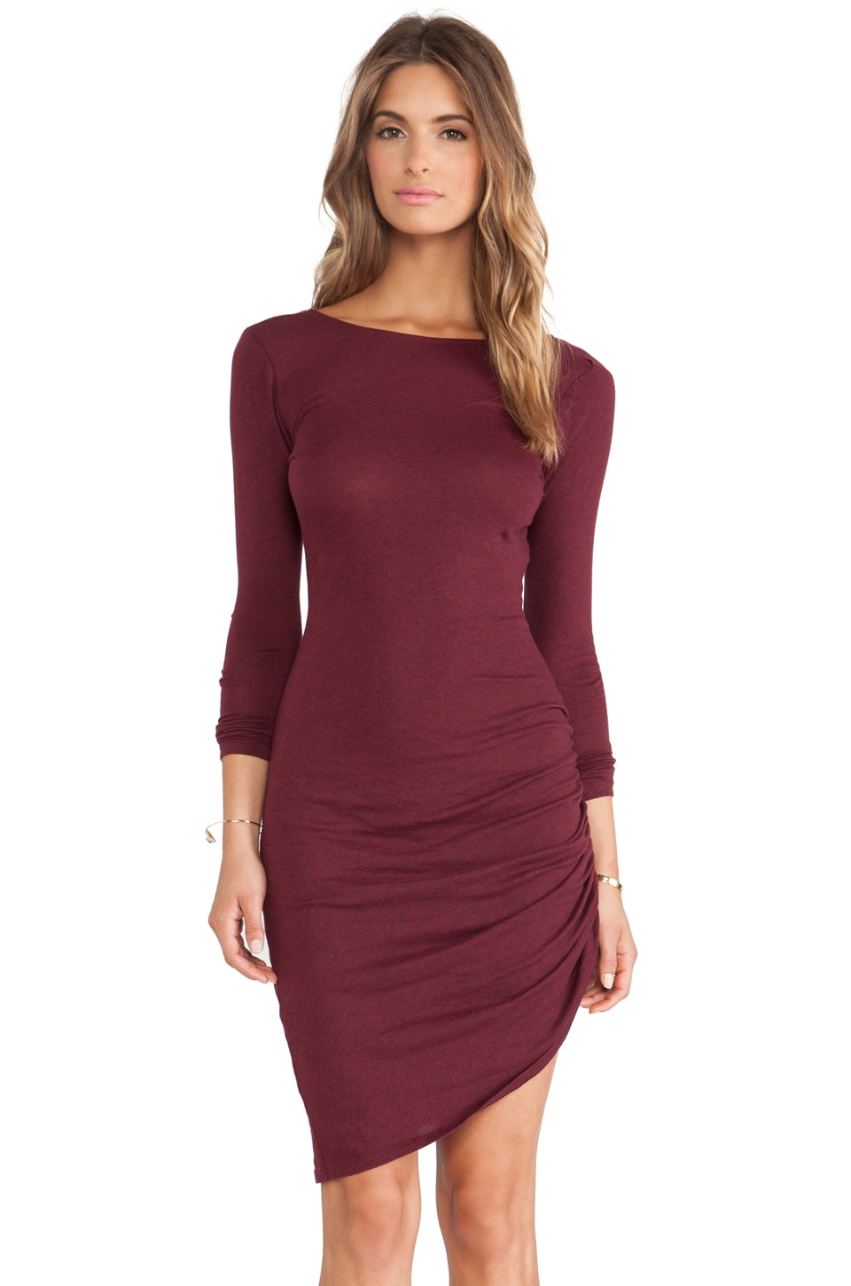 Bobi Light Weight Jersey Asymmetrical Dress in Heather Wine