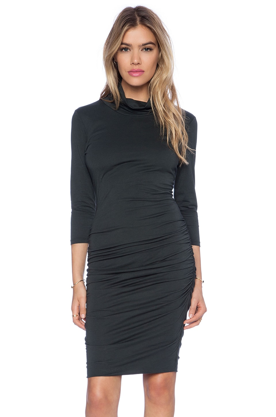 Bobi Modal Jersey Turtleneck Midi Dress in Pine Tree