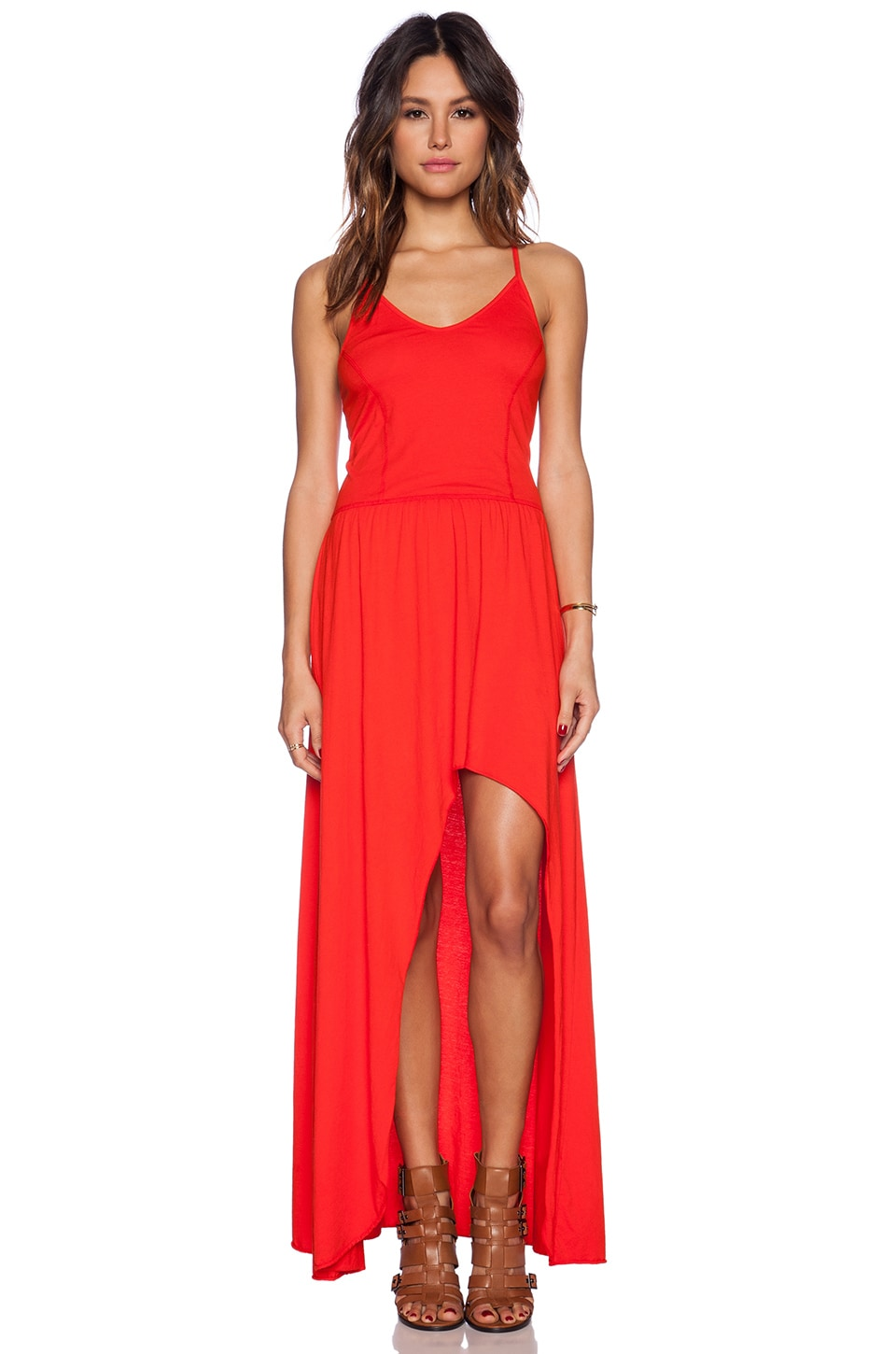 Bobi Supreme Jersey Maxi Dress in Candy Red