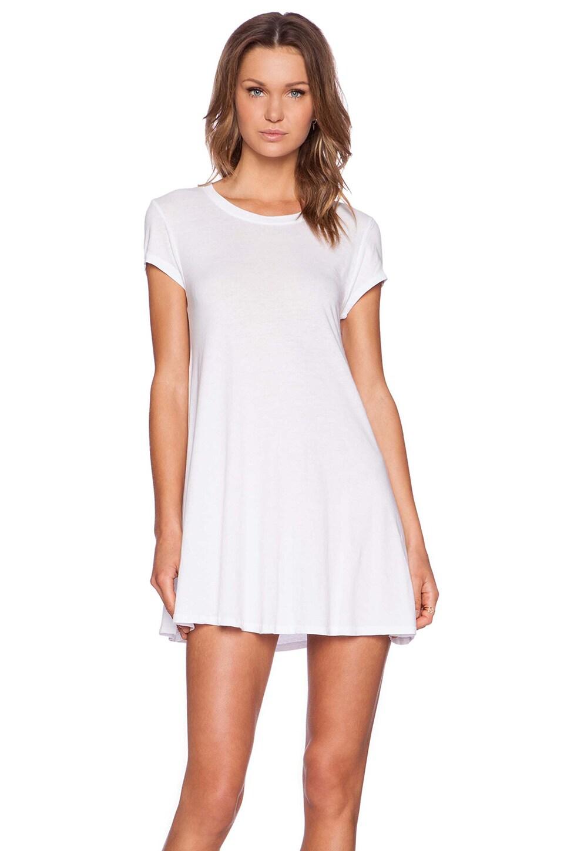 Bobi Light Weight Jersey Short Sleeve Dress in White