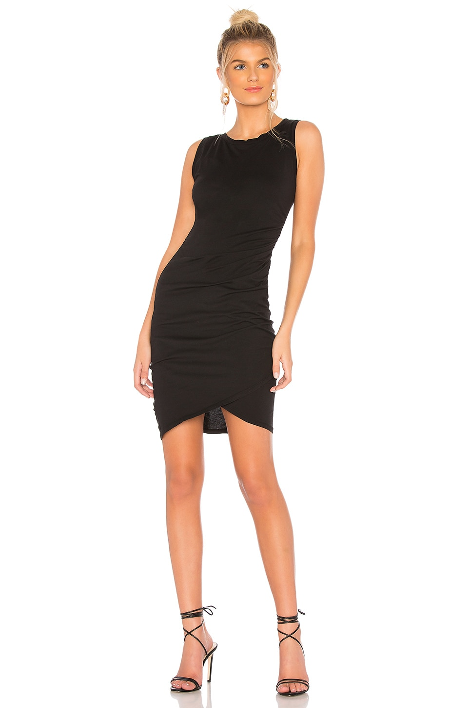 Bobi Supreme Jersey Ruched Bodycon Dress in Black