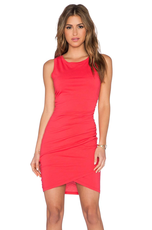 Bobi Supreme Jersey Ruched Mini Dress in Light Raspberry