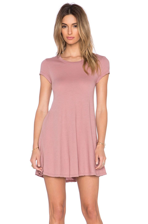 Bobi Light Weight Jersey Tee Dress in Light Rose