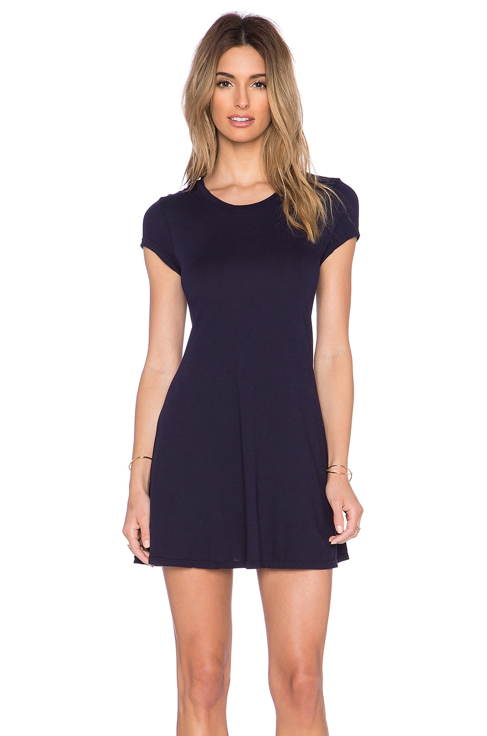 Bobi Light Weight Jersey Tee Dress in Night Sky
