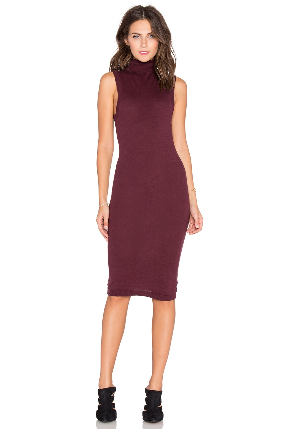 Bobi Funnel Neck Midi Sweater Dress in Malbec