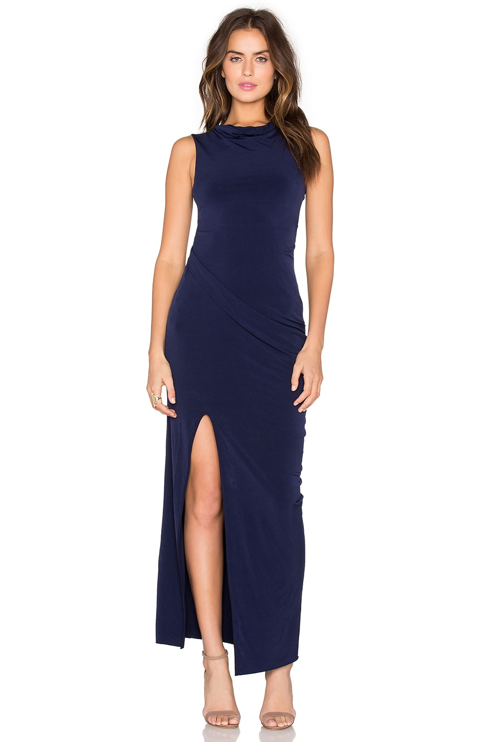 Bobi BLACK Liquid Jersey Cowl Neck Maxi Dress in Blue