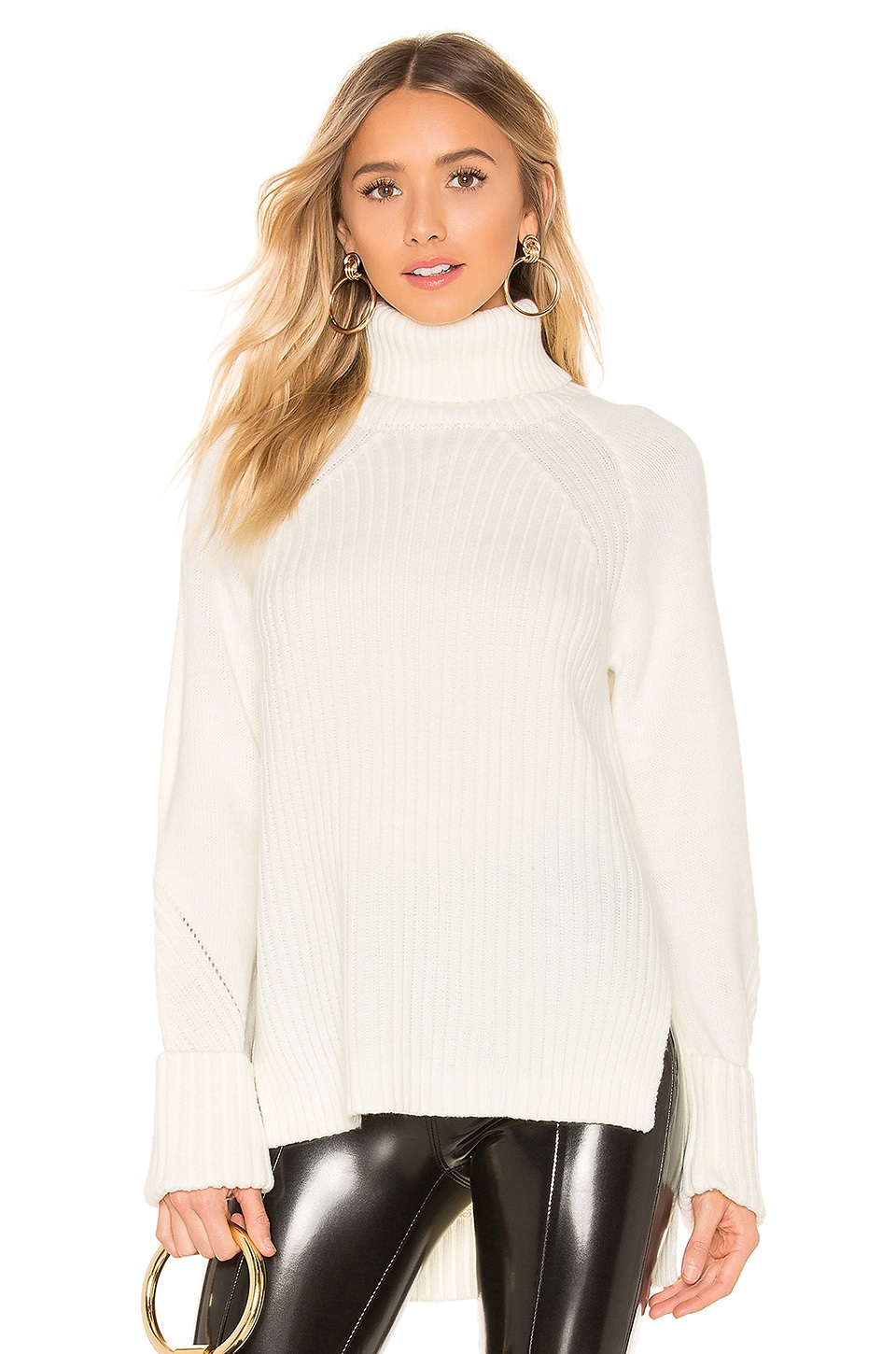 d1da54e33 Bobi Ribbed Turtleneck Sweater in Ivory