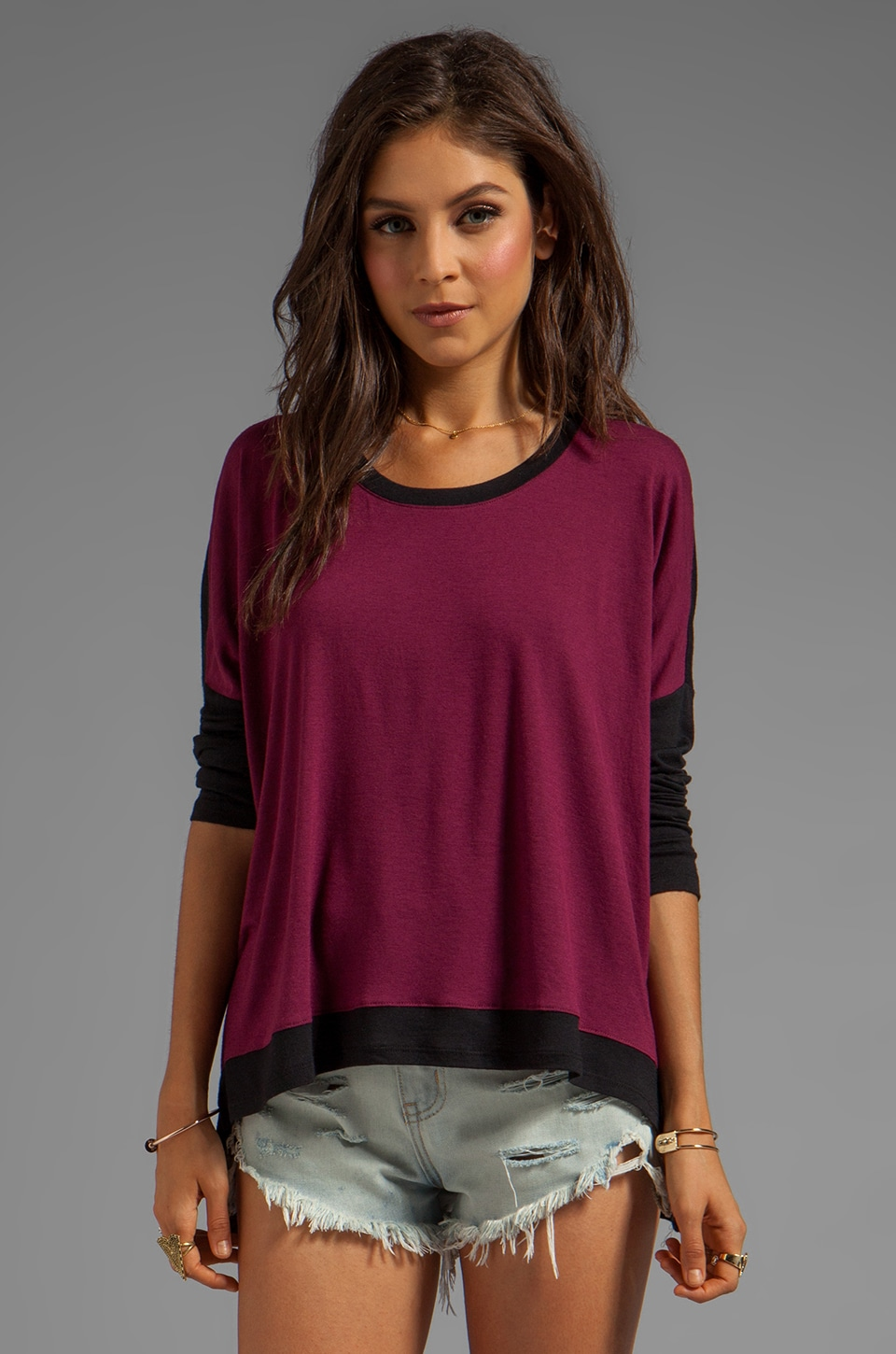 Bobi Sweater Colorblock Sweater in Merlot/Black