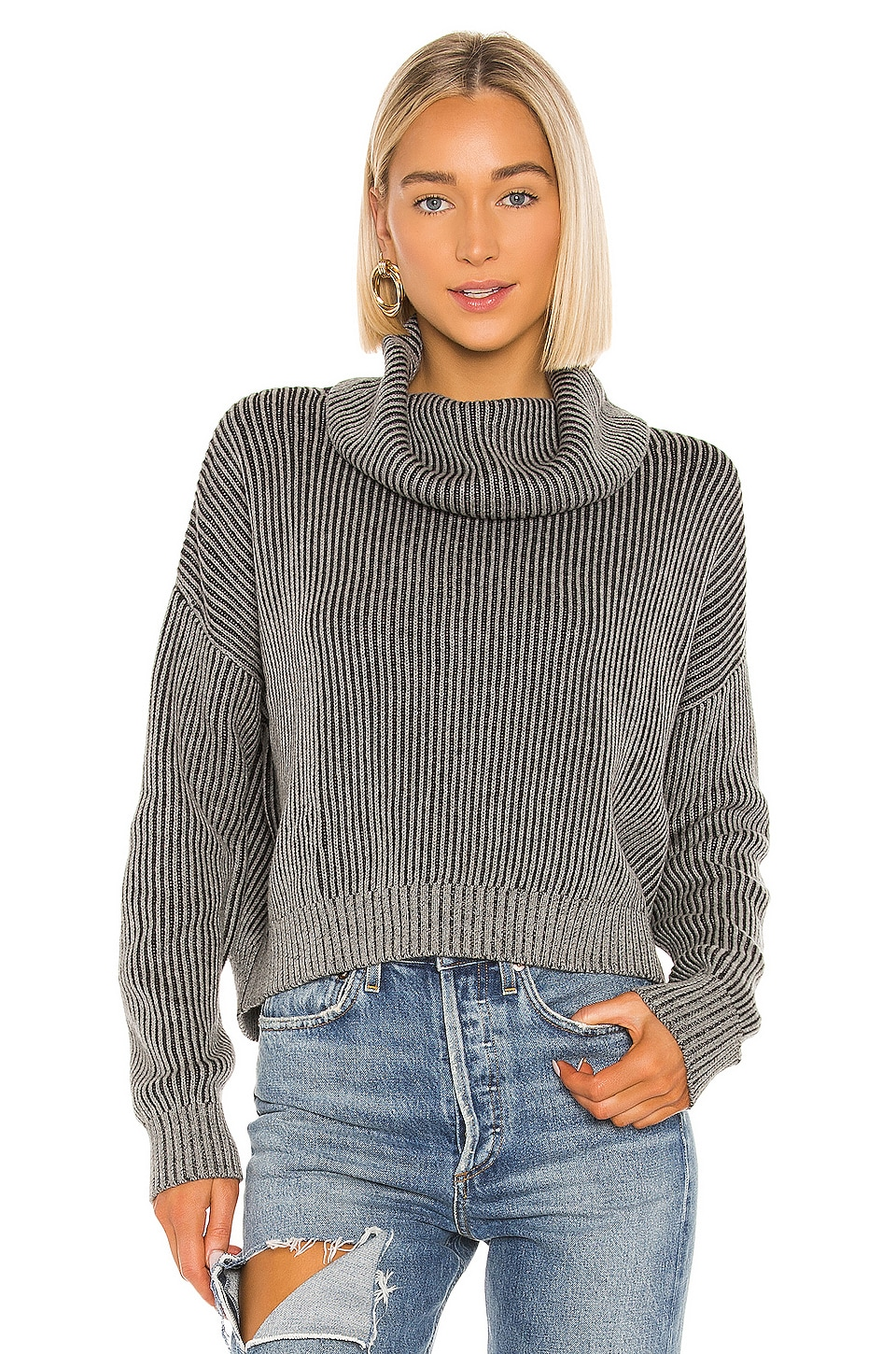 Bobi BLACK Cozy Cotton Sweater in Heather Grey