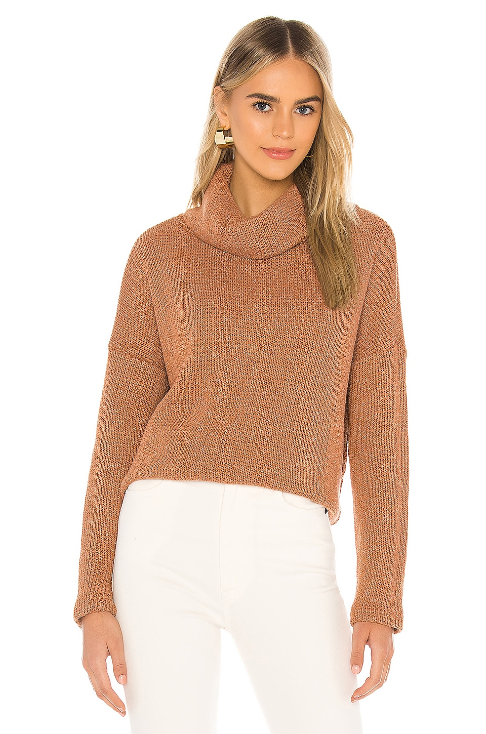 Bobi Soft Sweater Knit Turtleneck in Rust