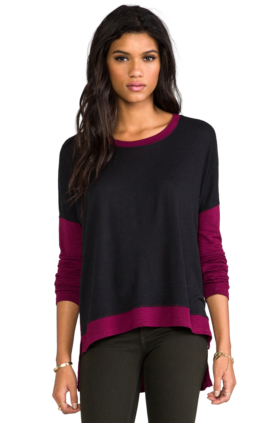 Bobi Sweater Colorblock Sweater in Black/Merlot