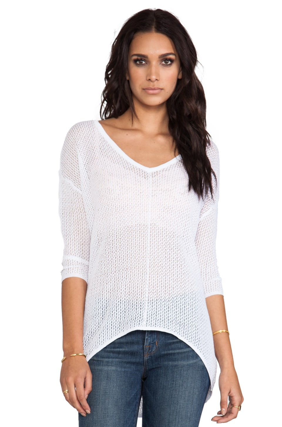 Bobi Mesh Sweater in White