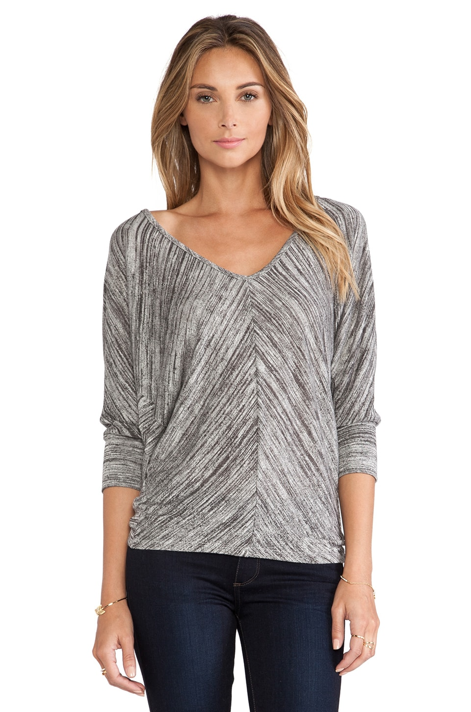 Bobi Space Dye Dolman Sweater in Black