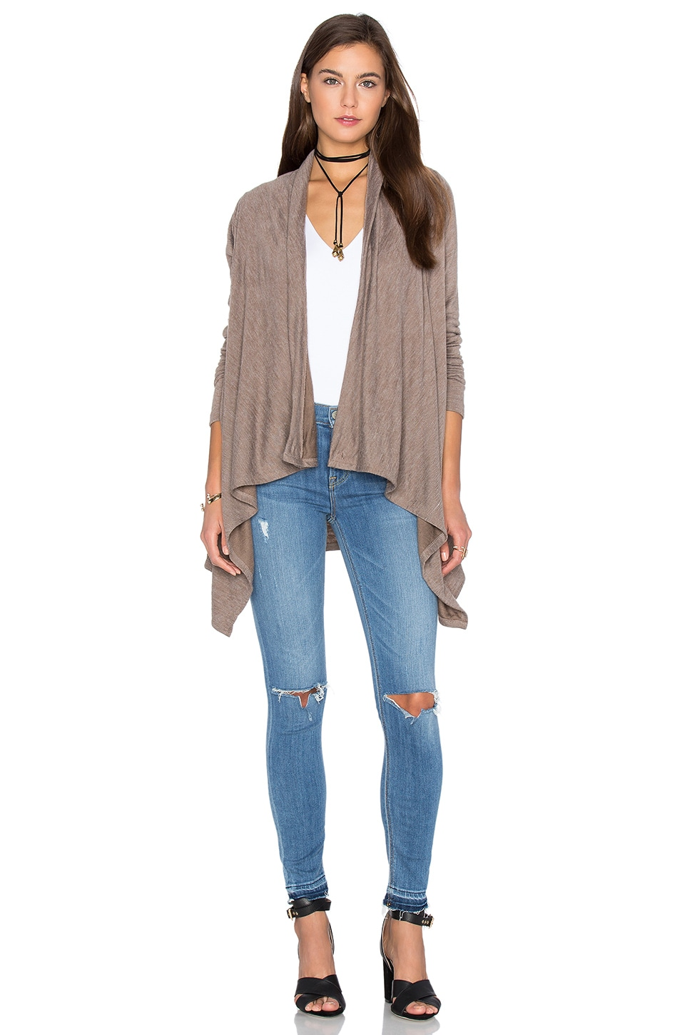Fine Woolen Jersey Long Sleeve Wrap Cardigan by Bobi