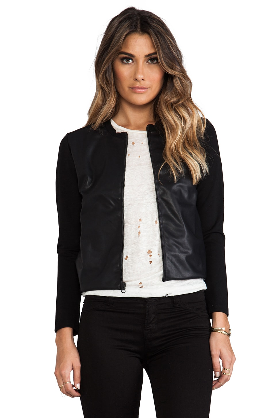 Bobi Bomber Jacket with Leather Front in Black