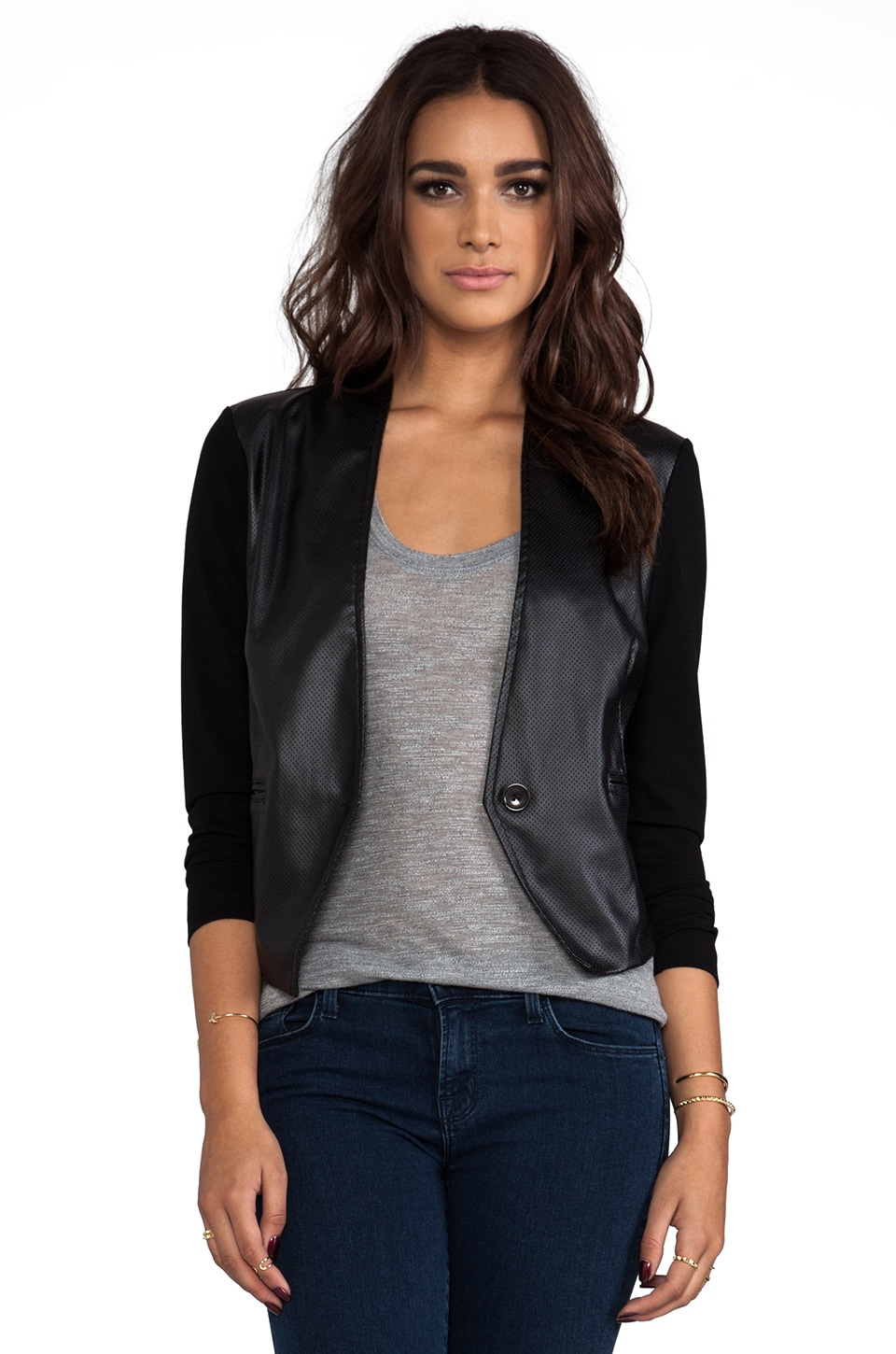 Bobi Blazer with Leather in Black & Black