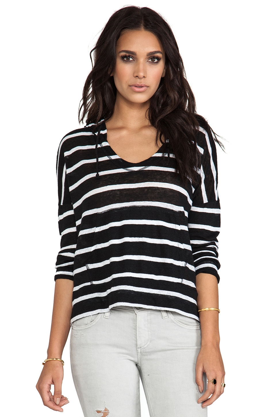 Bobi Linen Stripe Sweatshirt in Black & White