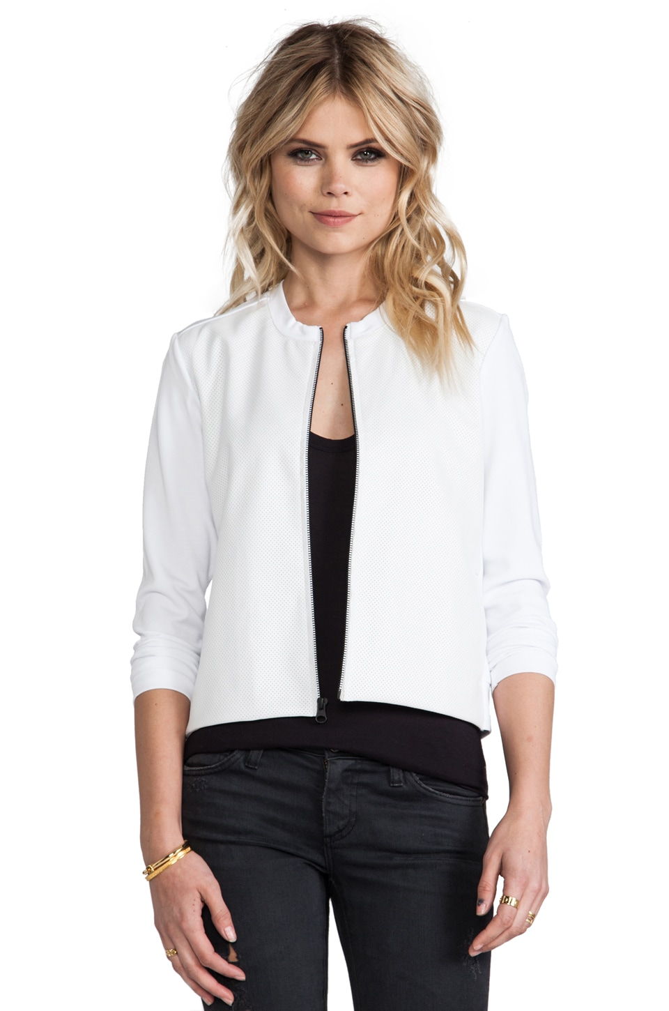 Bobi Jacket with Faux Leather  in White & White