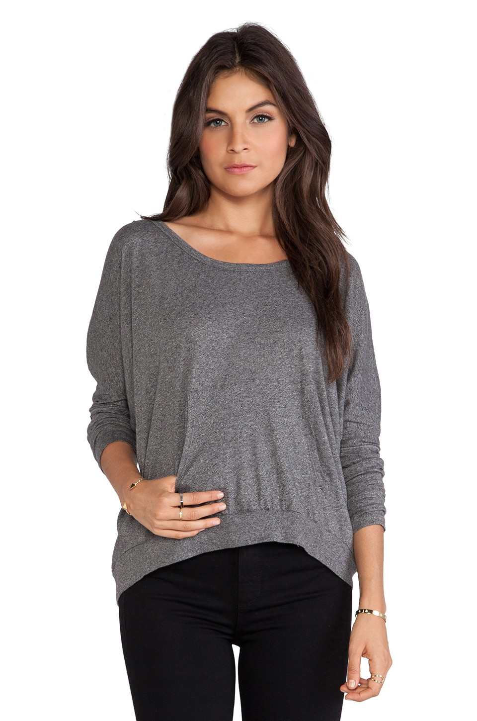 Bobi Long Sleeve Hoodie in Dark Heather
