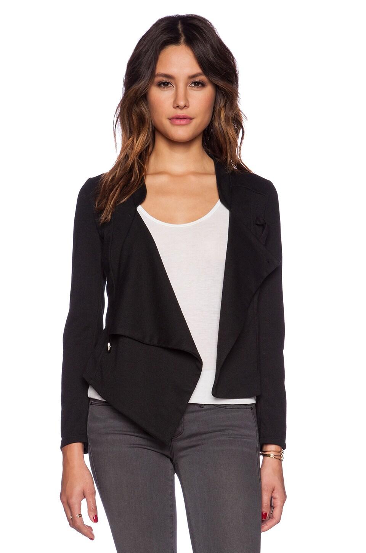Bobi Knit Boucle Cross Front Jacket in Black