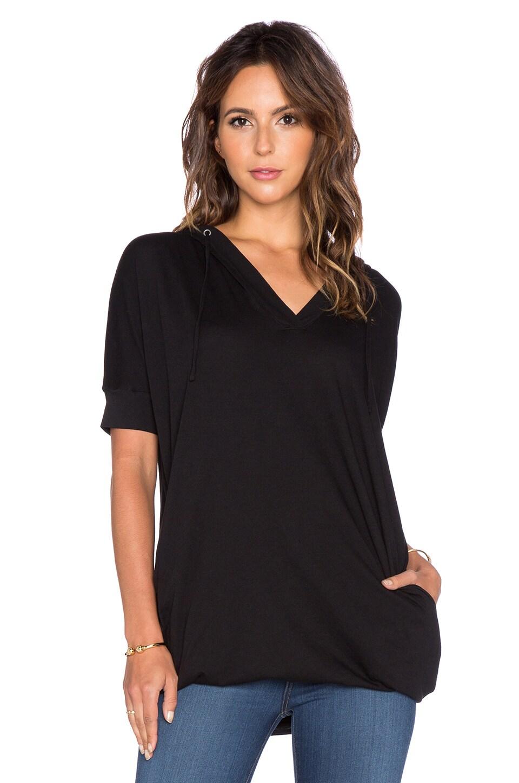 Bobi Light Weight Jersey Short Sleeve Hoodie in Black