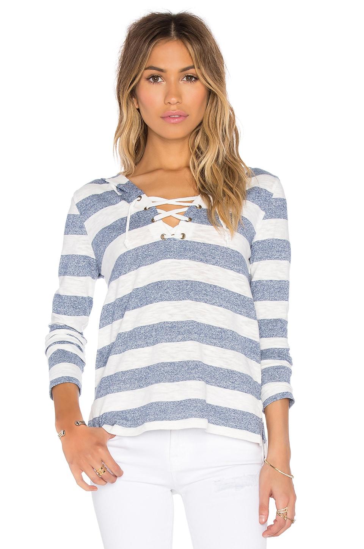 Bobi Slub Stripe Lace Up Detail Hoodie in Blue & White