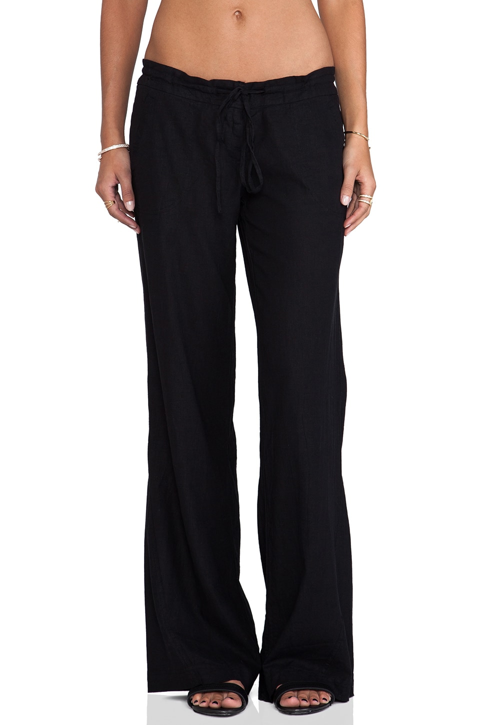 Bobi Linen Wide Leg Pant in Black