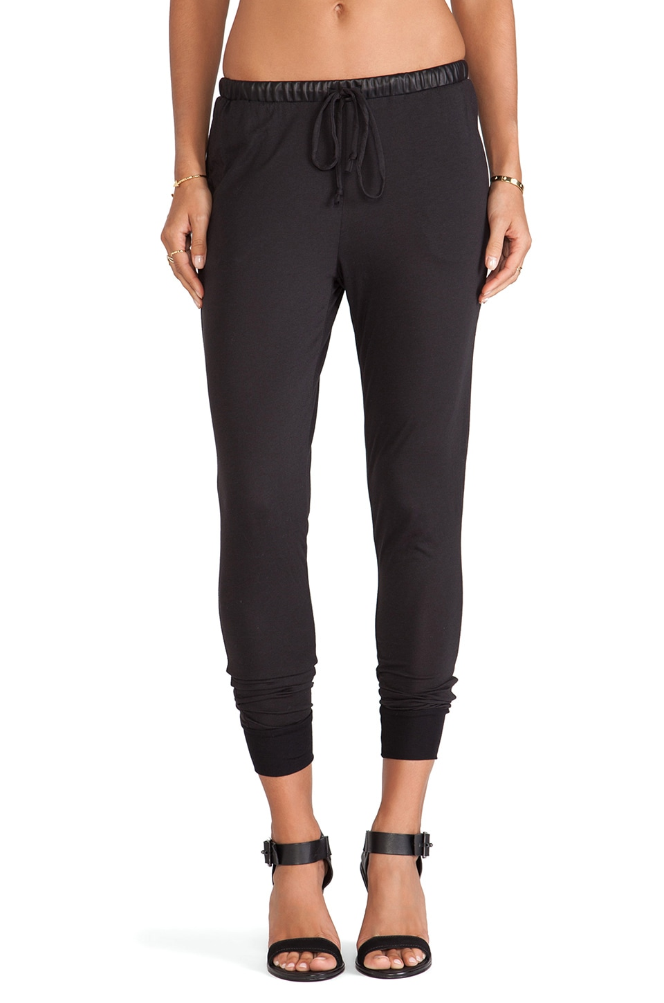 Bobi Vegan Leather Sweatpants in Black