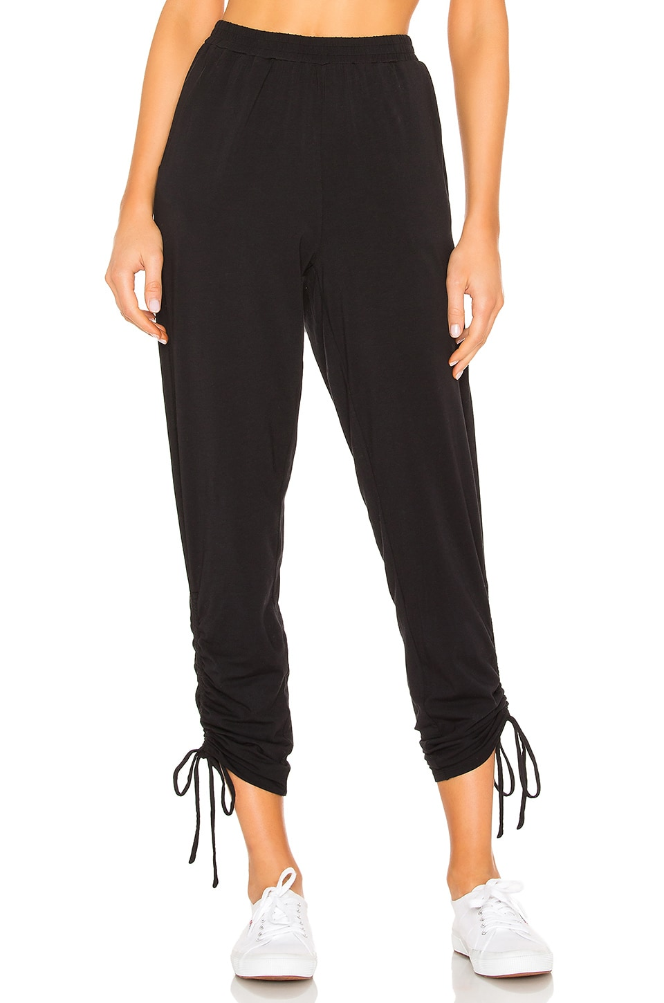 Bobi Draped Jersey Ruched Pant in Black