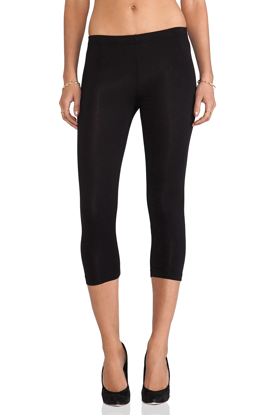 Bobi Cotton Lycra Cropped Leggings in Black