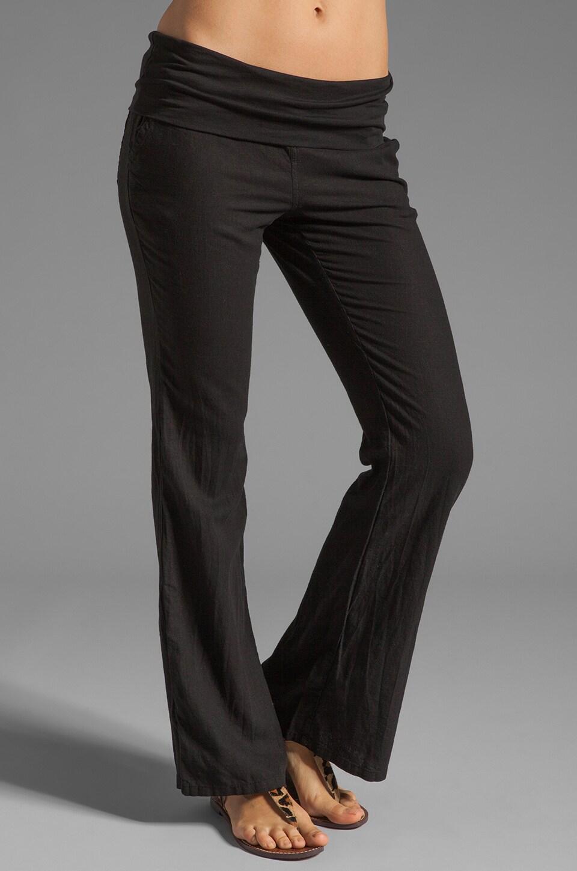 Bobi Linen Foldover Pant in Black
