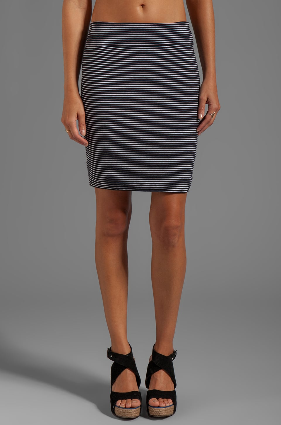 Bobi Cotton Lycra Pencil Skirt in Black Stripe