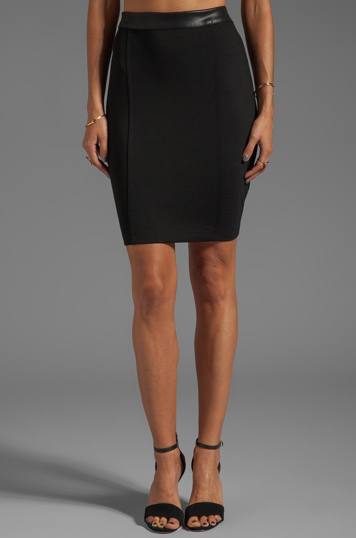 Bobi Mini Skirt with Leather Waistband in Black