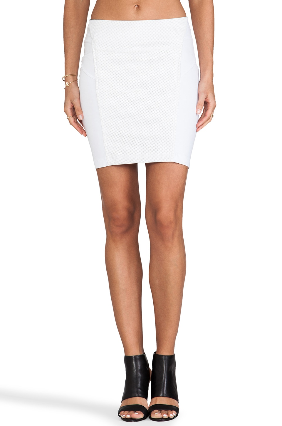 Bobi Skirt with Leather in White