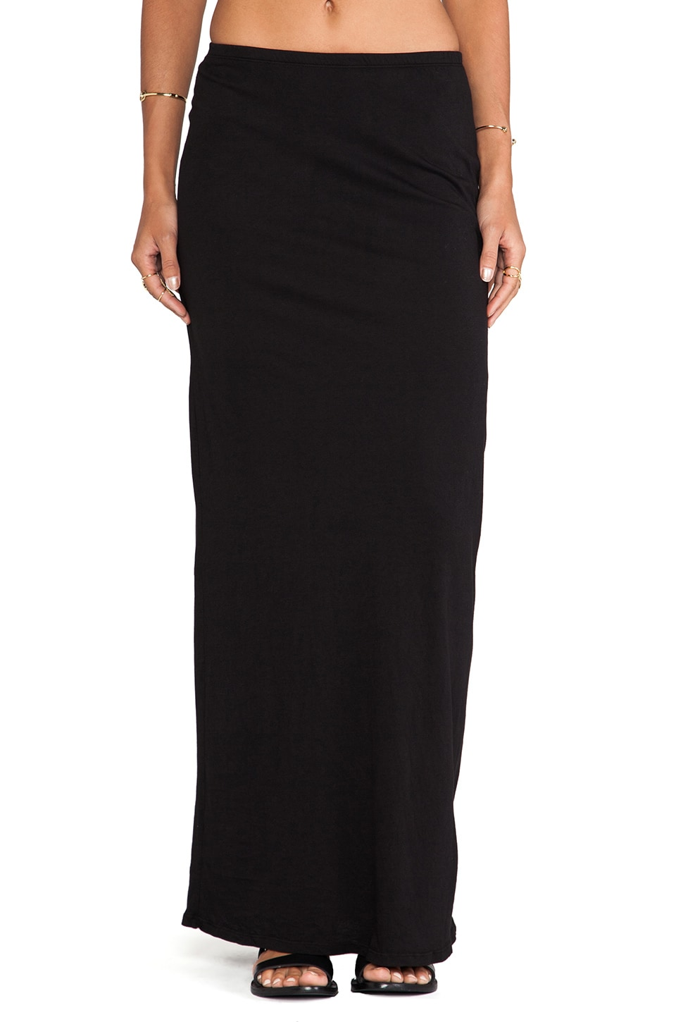 Bobi Light Weight Jersey Maxi Skirt in Black