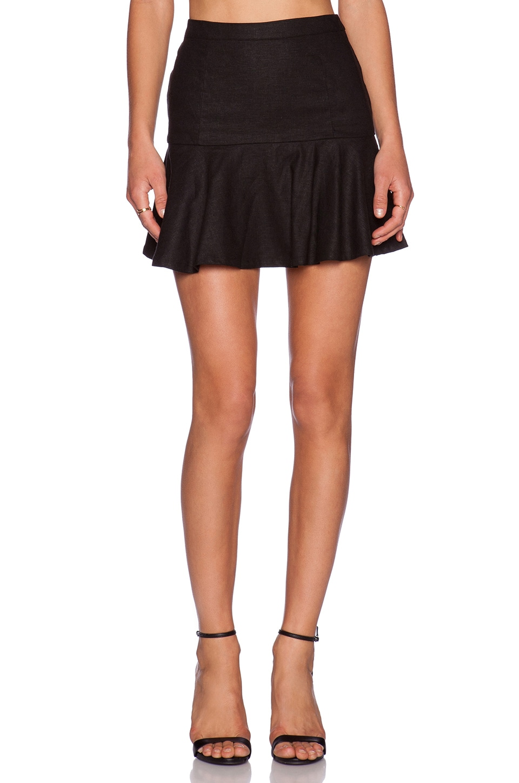 Bobi BLACK Stretch Linen Flare Mini Skirt in Black