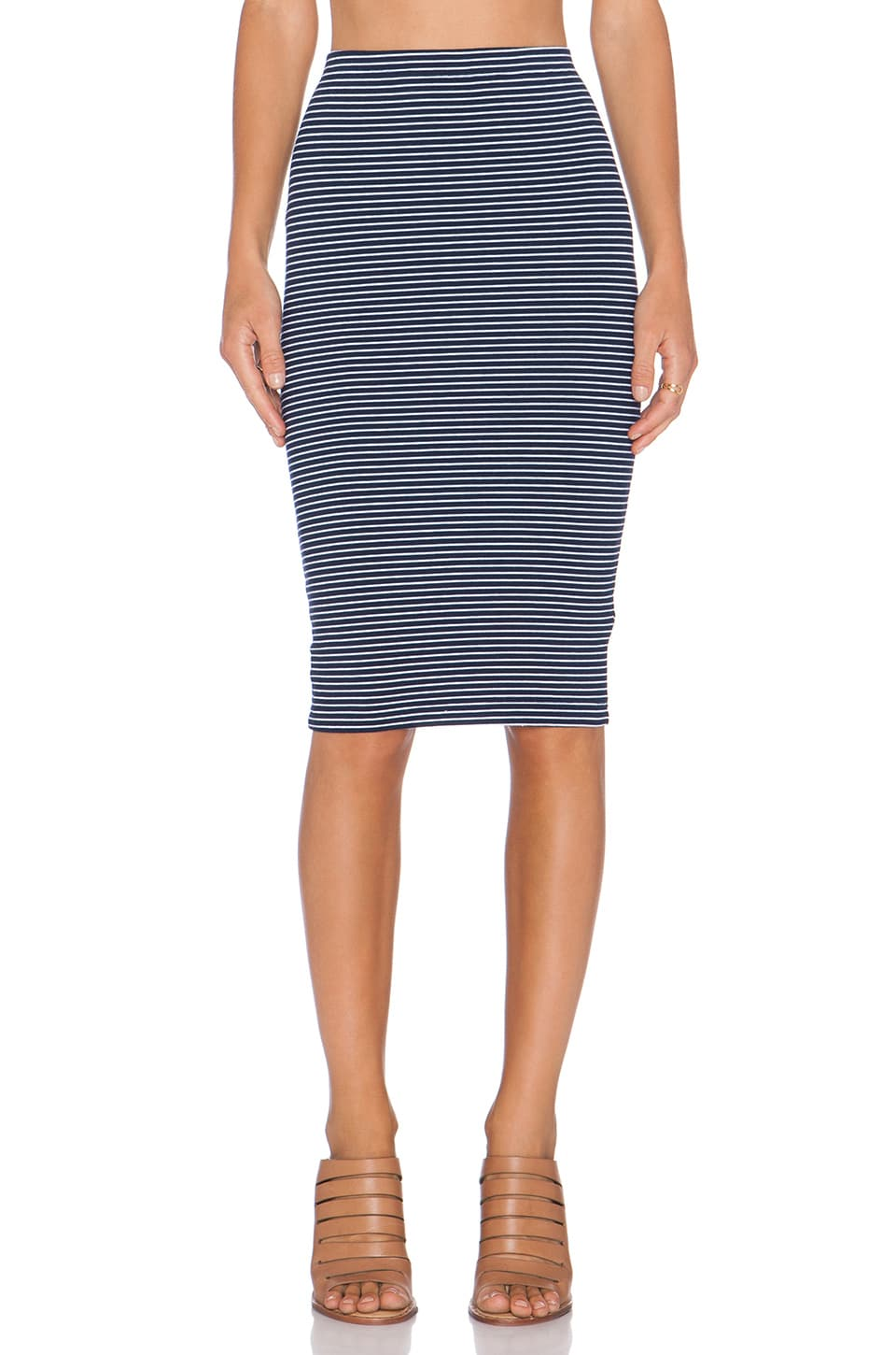 Bobi Striped Heavy Spandex Midi Skirt in Passport & White