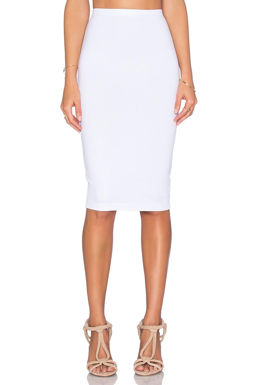 bobi heavy spandex pencil skirt in white revolve