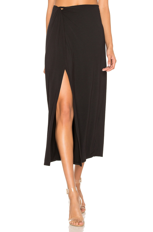 Bobi Draped Jersey Knot Maxi Skirt in Black